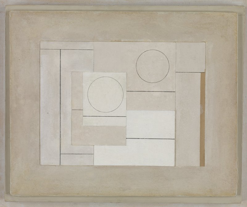 white, off-white, grey and tan composition of overlapping squares, rectangles and two circles