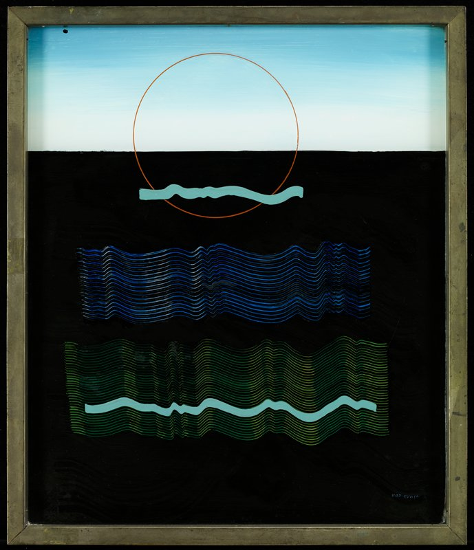 "blue ""sky""; black ""ground""; high horizon line; red open circle at top center encompassing ground and sky; turquoise wavy line on bottom of red circle; blue and green wavy lines on ground, with turquoise line near bottom of green band; painted on both sides of glass"