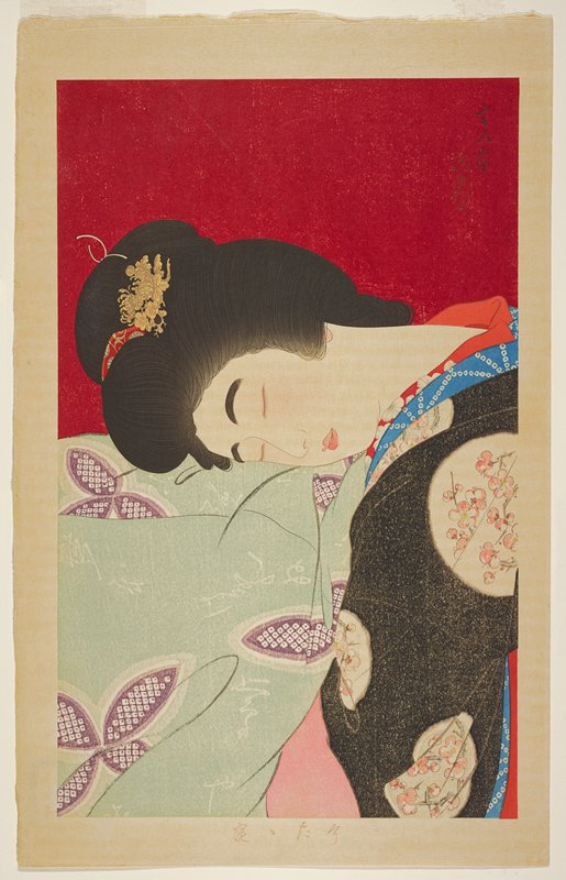 gomazuri on sheet and kimono, background?; woman wearing black kimono with pink flowers, resting her head on green cloth with purple and white pattern; red ground
