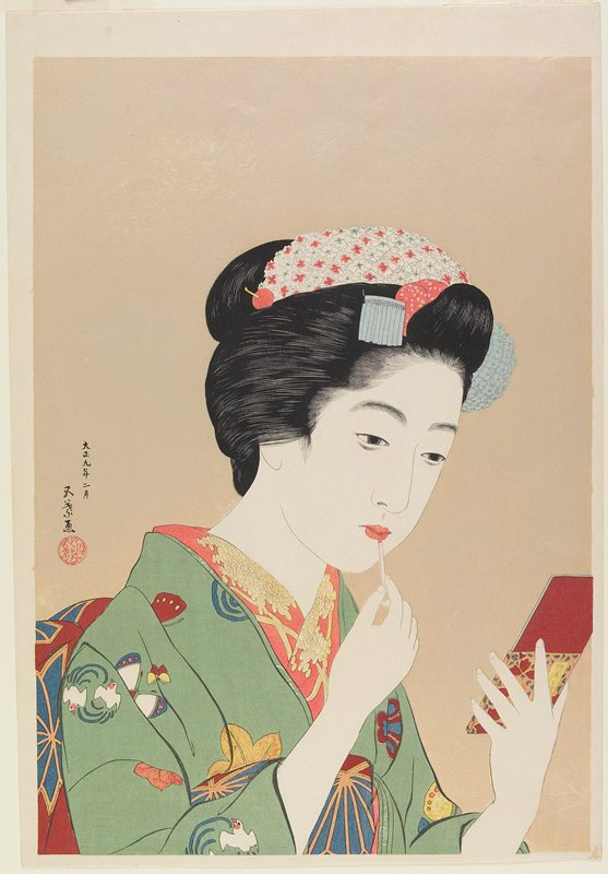 (Portrait of Chiyo, a Maiko of Gion, Kyoto). woman in green kimono with white birds and white, blue, yellow, pink and maroon butterflies, applying pigment to her lips with a small brush; woman holds a rectangular mirror in her PL hand; shiny peach ground; L2001.372.31 and L2001.372.38 are preliminary sketches for this print