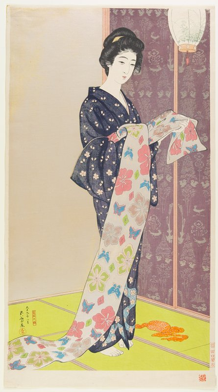 standing woman wearing a blue floral kimono and holding an obi with flower and butterfly pattern; hanging lamp, URC; green floor