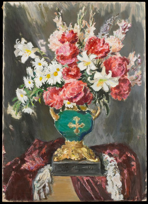 Still life. Bouquet of flowers in a turquoise and gold vase.