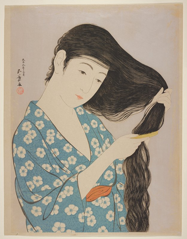 head and torso of woman with very long hair, combing with a yellow comb; blue and white floral garment