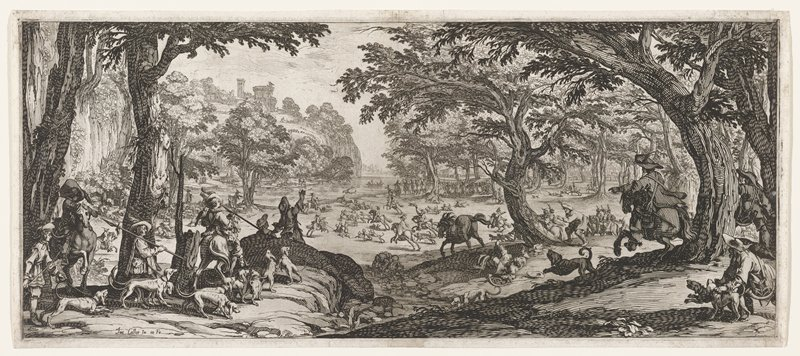 figures on horseback and on foot, with dogs, chasing a stag into a clearing