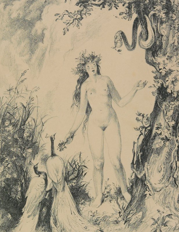 nude woman with wide eyes, holding a small bouquet of flowers, with flowers in her hair; snake holding an apple in its mouth in tree, R; 2 peacocks, LLC