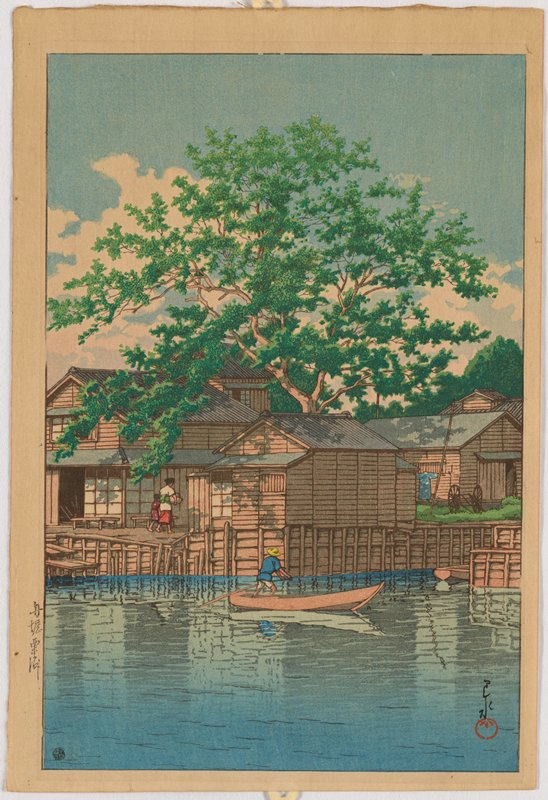 landscape; man in boat center foreground and building and trees in background.