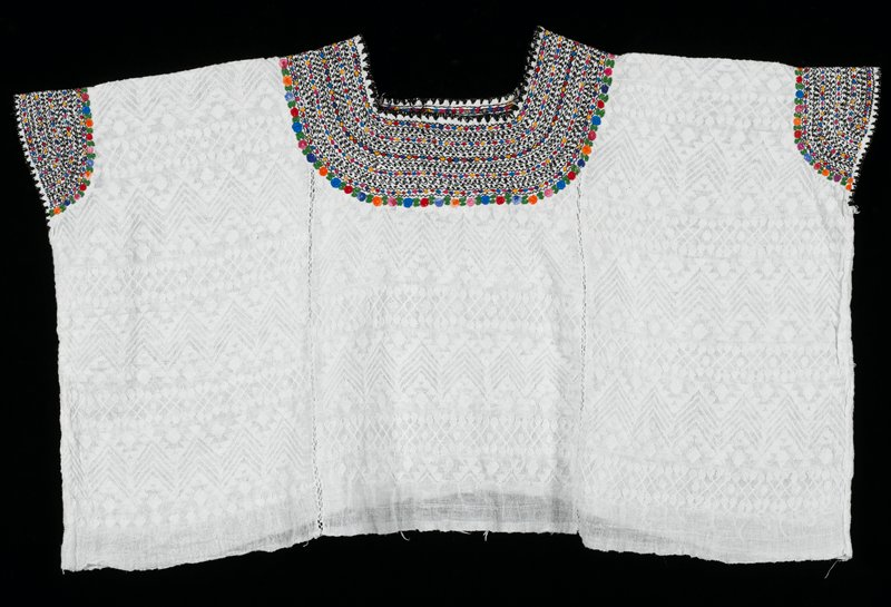 White background (sheer) with supplementary weft patterning; embroidery at neckline and arms, black, red, blue, yellow, orange, green, pink.