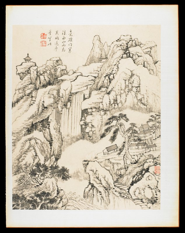 buildings in mountains; steep valley between cliffs at center; from an album of 12 drawings in ink and wash; short inscription and stamps in red