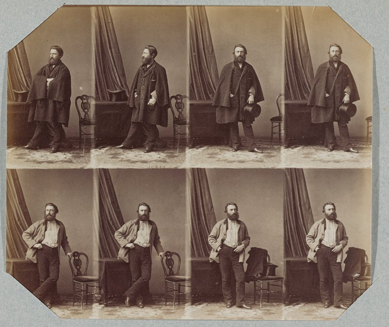 thin sheet with 8 images printed in 2 horizontal rows; 4 top images of a bearded man wearing an overcoat, holding a top hat; 4 bottom images of same man wearing a light colored jacket and dark pants