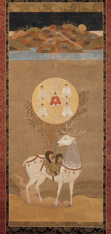 unsigned; white deer wearing bells and an ornate saddle with a wisteria vine growing from it; golden circle within wisteria with three figures sitting cross-legged, and sitting with hands folded in front of chest, clasping small tablets, four of the figures are in white, and center figure is in red; mountains at top with colorful mounds, water below, and golden moon near top
