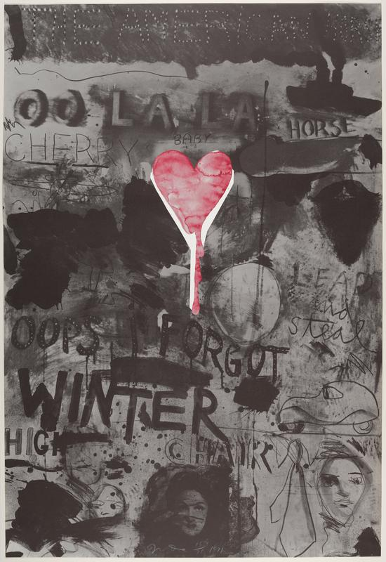 the heart is a collage printed in red from a photolithograph of a wash drawing