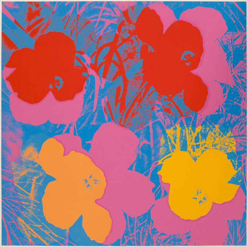 Suite of 10 color screenprints; background color: pink; flower color clockwise direction: yellow, orange, blue
