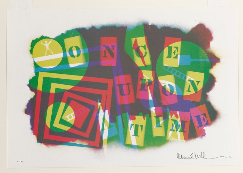 Portfolio with 10 multicolored prints, title page, 'Drawing' (hand stamp) and cover print.