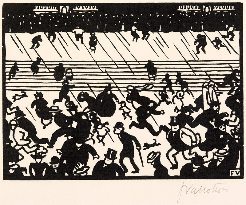 Plate II group of 6 woodcuts matted together; a: people standing behind a railing; b: crowd in a station; c: crowd and animals in front of stairs, in wind and rain; d: people walking behind a curtain being parted by a man in a fez accompanied by a man playing a horn; e: crowd of people with little girl in front; f: faces of crowd with fireworks overhead