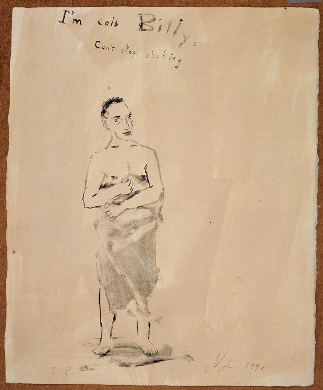 """Nude man covered from the waist down in a towel; he faces forward in the direction of the viewer; the words """"I'm Cold Billy/Can't Stop Shaking"""" inscribed, UC; cream background"""