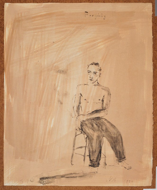 """Full length rendering of a man naked from the waist up; he faces forward in a chair with a lit cigarette in his PL hand; legs turned slightly PL; the words """"Forgiving"""" inscribed, UC; dark cream background"""