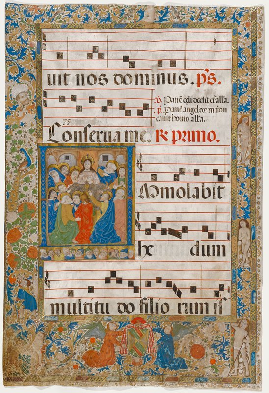 double sided; front is music sheet with inset scene of the Last Supper on left with decorative painted bordera all around