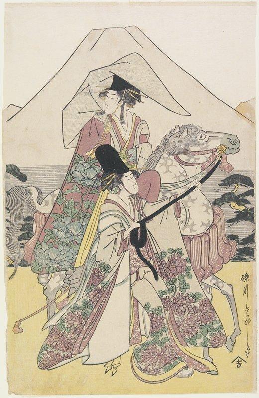 beni-girai, part of vertical ōban triptych