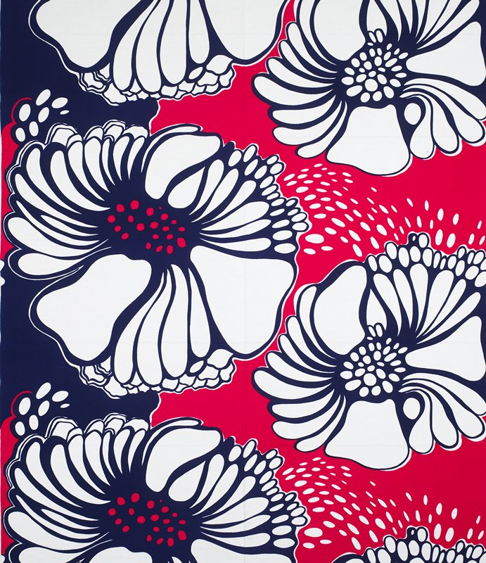 Fuchsia, blue and white floral design. Textiles / surface ornamentation / Printed.