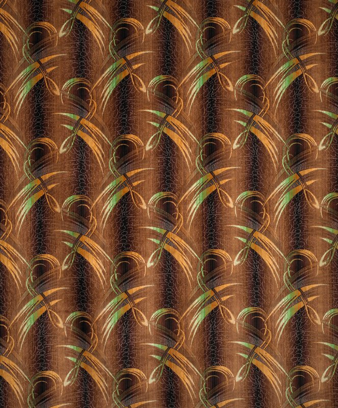 Art deco. Yellow and green feather-like marks on dark (blue?) background with small circles and semi-circles.