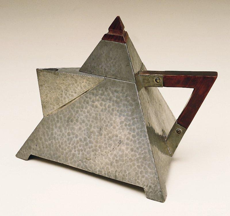 Hammered pewter; pyramid shape