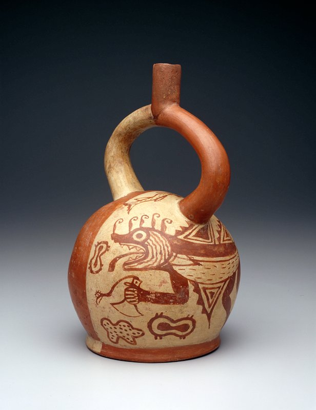 Stirrup-handle jar with painted design of a mythical creature, half fish, half jaguar, in rust red on the panel of cream slip covering one half of the jar.