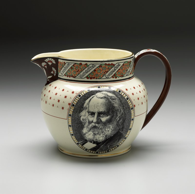 spouted, handled vessel with wide mouth and short neck; one side decorated with portrait of Longfellow; opposite side has portion of poem; neck decorated with flowers and ribbons with names of Longfellow works