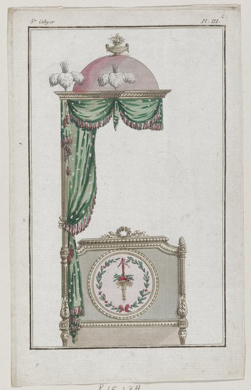 Parts of an elaborately carved and decorated canopy bed upolstered in green with a pink dome-like structure with white plumes at the top