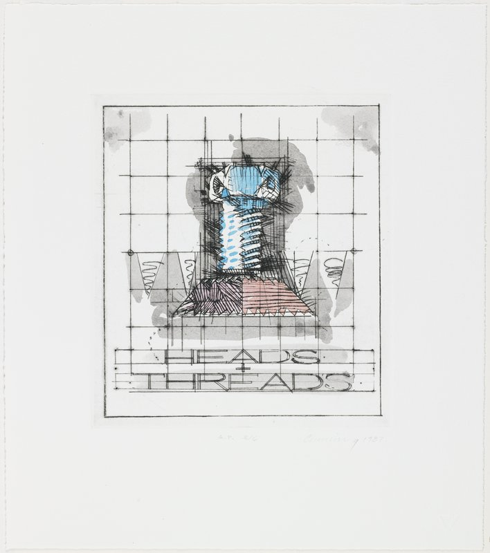 Suite of nine hand-colored drypoints housed in a dark gray linen buckram folding portfolio case.