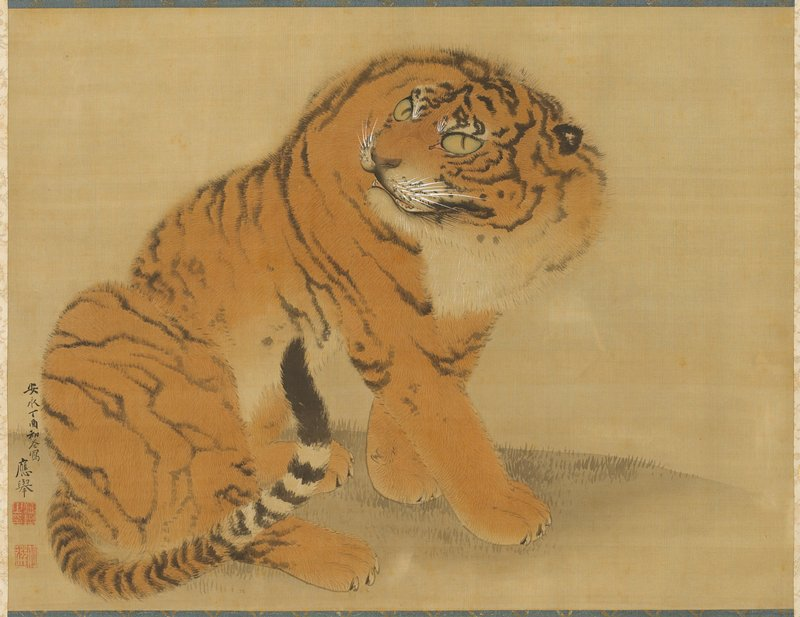 seated tiger viewed from PR side; tail wrapped around right side of body; head turned to tiger's back, towards left; beige border, partly brocade