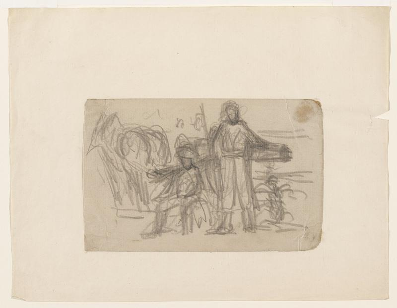sketchy image of 2 figures (1 seated and 1 standing) with a cannon behind them; mounted to another sheet