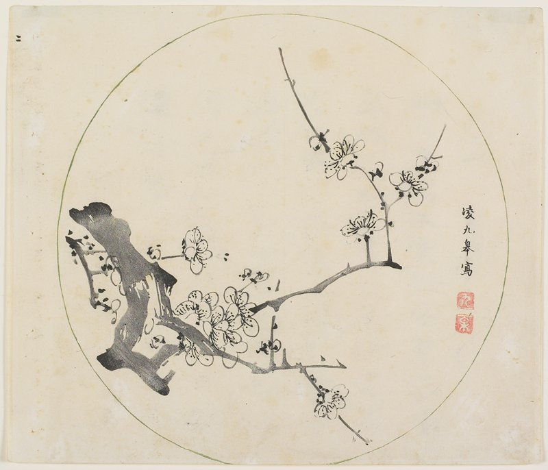 originally part of album; round cartouche with blossoming plum branch