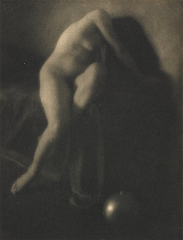 seated woman, nude, her proper right leg is extended and her proper left leg is bent, with her left foot behind her right knee; the woman's face is not visible