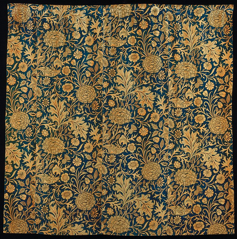 one of a pair of hand block printed velveteen curtain panels (with 85.52.1); Wm. Morris mfg.; stored in box
