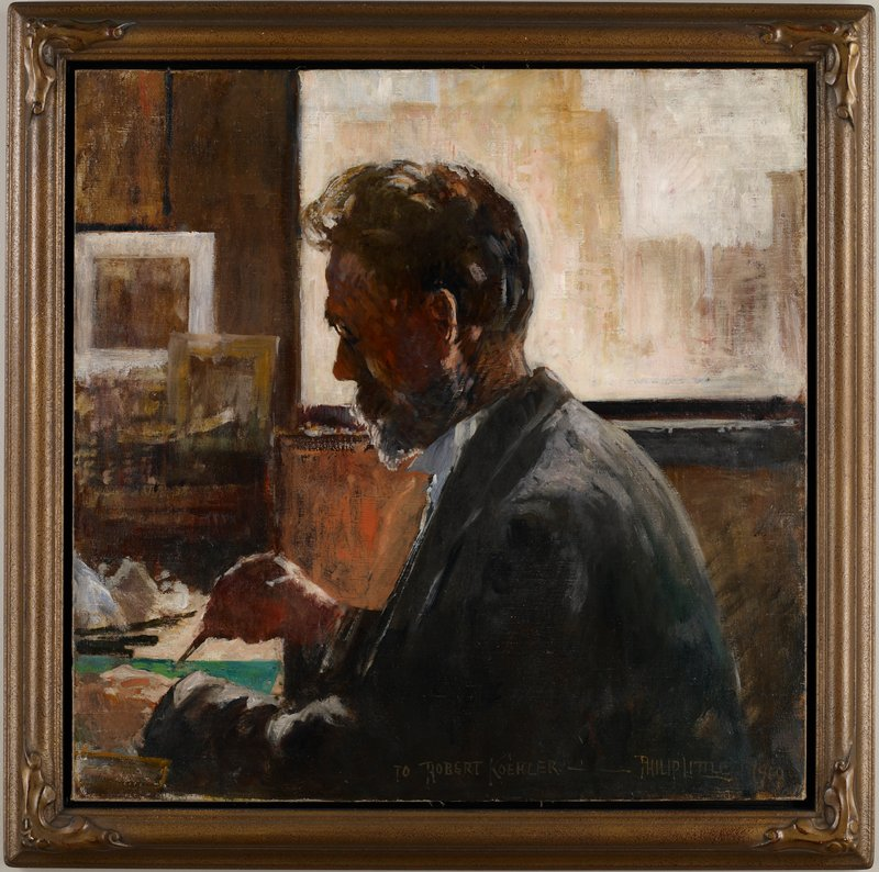sketchy image of man with brown hair and beard, in profile from PL, painting on a horizontal green surface; 2 frames in background, ULQ; light area, URQ