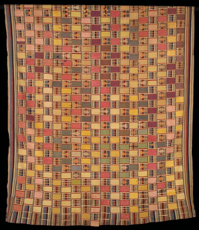 woven strips sewn together in roughly checkered design; blue, red and white striped rectangles and bands with geometric, bird and floral-like designs alternating with multicolored pattern and solid rectangles in mainly pastel designs; striped borders on long sides