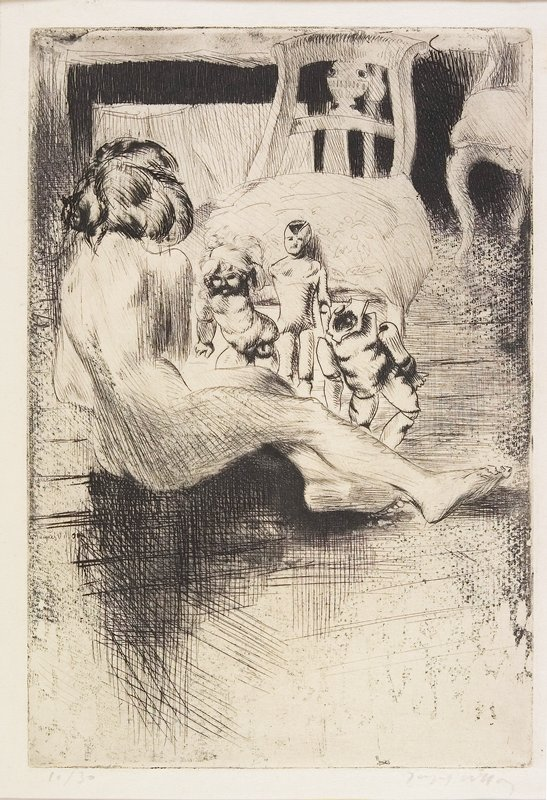 nude figure, seen from back with legs stretched to R, arranging three dolls in front of a side chair; figure seated on floor