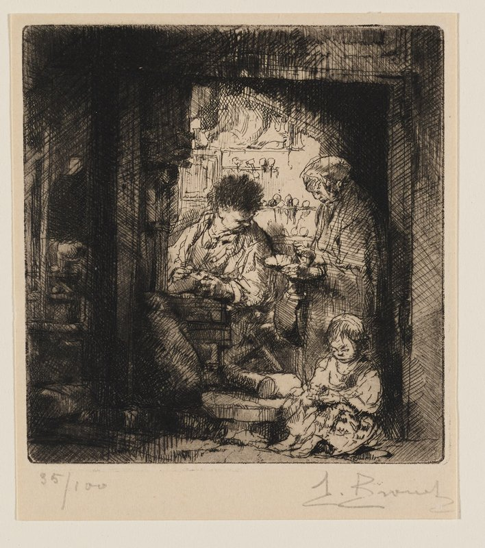 two figures at center (one standing, one seated); seated figure looking down; child seated in LRC; edges of image dark