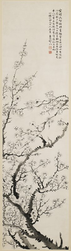branches extending upward from LRC, covered with small blossoms; text at URC