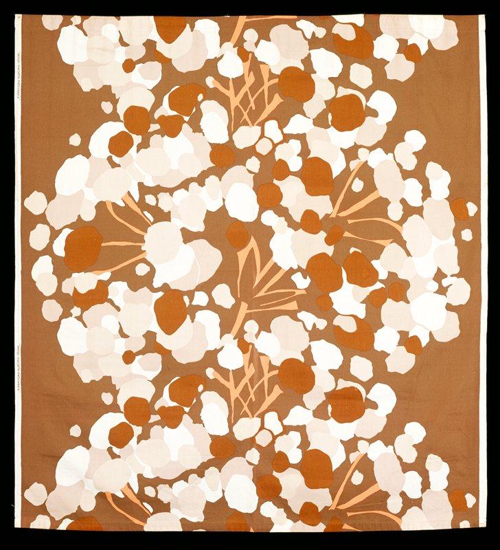 Green brown on ground, orange branches, beige, ecru, brown foliage