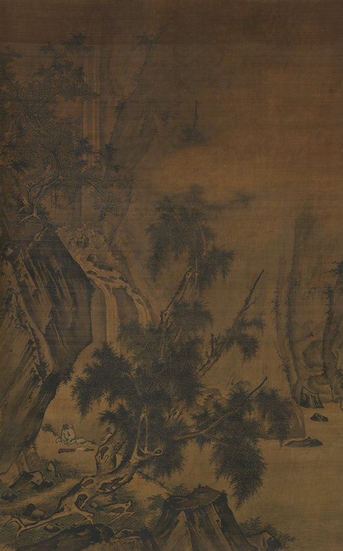 scholar and attendant in LL corner on a riverbank looking at a waterfall at L; rocky landscape; scattered trees with gnarled trunks