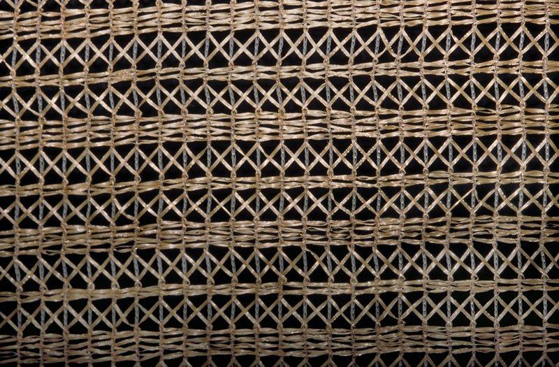 Warp knit construction, heat set, Open (see thru) knit, horiz. design Wheat