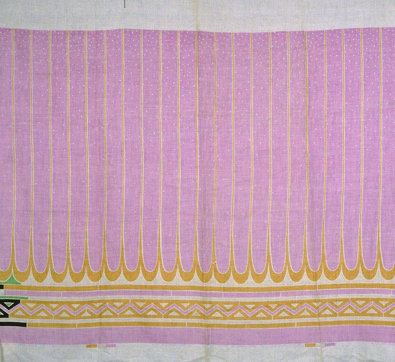 Velour jersey fashion print with striped border print, zig-zag print along bottom edge. Balanced, plain weave. Printed with striped, lilac border print, zig-zag gold print along bottom edge. (lilac/gold)