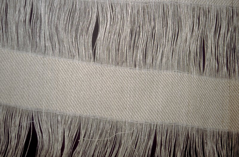 """""""web-like diffusion fabric ... an undulating stripe slanting deliberately across the warp at different levels in varying widths..."""" Natural"""