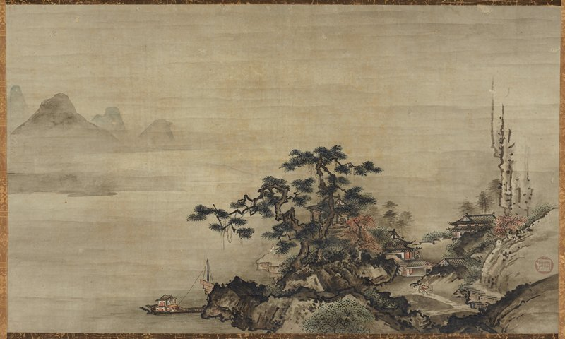 mounted on silk scroll; in the style of Sesshu Toyo