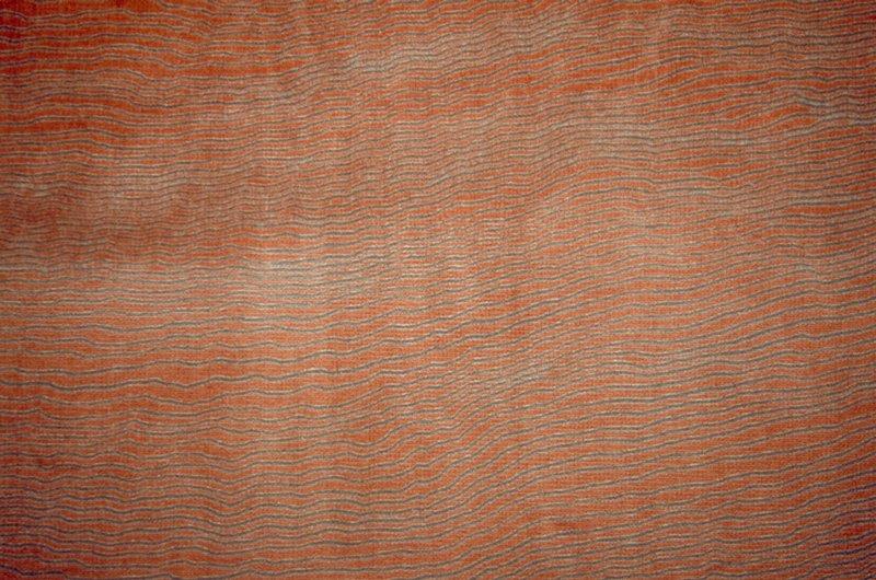 Velvet discharge print with fine horiz. wavy lines. Salmon & grey. Smoked Salmon