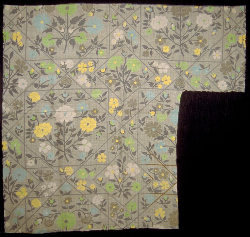 """Millefleur disciplined in a geometric grid of 7"""" and 13"""" x 13-3/4 inch diagonal squares. Approx. 36"""" vert. Rpt. Greens, blue, yellow, grey. (grey)"""