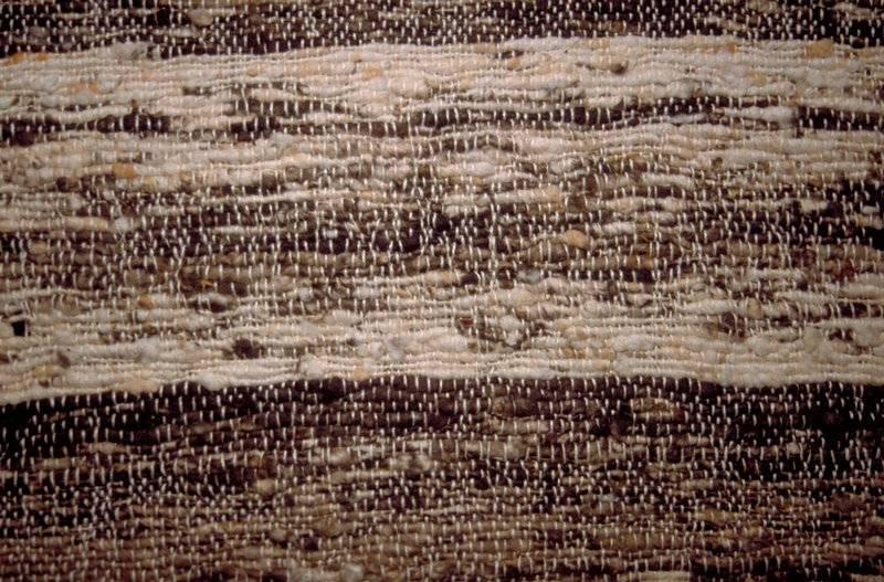 Handwoven with horizontal stripe. Brown & natural. Brown Striae