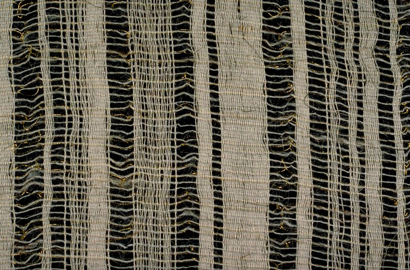 """Natural white plain weave cloth with warp-faced stripes (1/4"""" to 1/2"""") divided by open weft of cotton, gold thread and goathair. Natural white plain weave cloth with warp-faced stripes (1/4"""" to 1/2"""") divided by open weft of cotton, gold thread and goathair. Birch"""