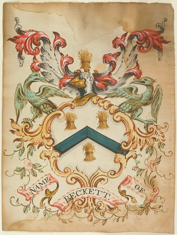 Crest (Watercolor) name of Beckett. The shield contains three shocks of grain, two in the upper and one in the lower half, separated by a triangle band of azure, and is surmounted by a closed, side-faced helmet in blue and gold, which is in turn surmounted by a shock of grain. The helmet flanked towards the top by two red plumes and towards the bottom by two green eagles. Shield formed by sheaves of brown leaves entwined with flowers, and on the scroll are the words Name of Beckett.